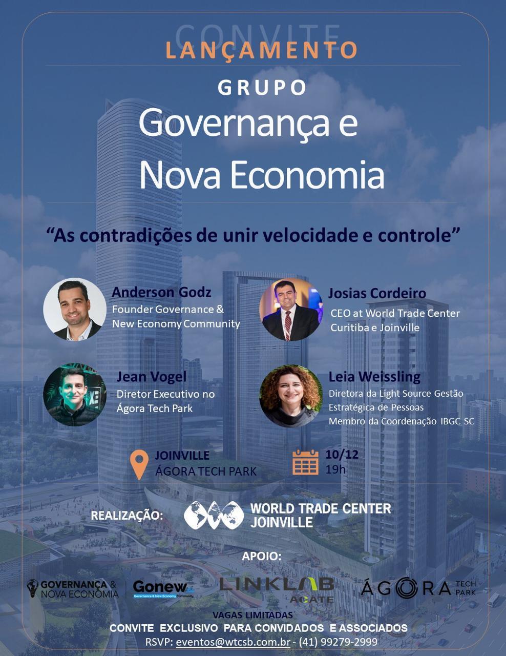 Lançamento do Grupo de Governança & Nova Economia em Joinville