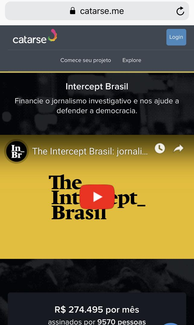 "Crowdfunding do Intercept. Não é sobre política. É sobre movimentos do ""novo poder"""